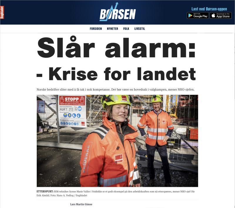 Faksimile av Dagblad-artikkel